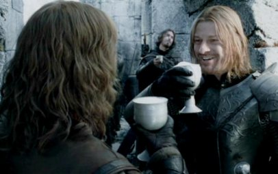 Boromir and Faramir toasting with beer